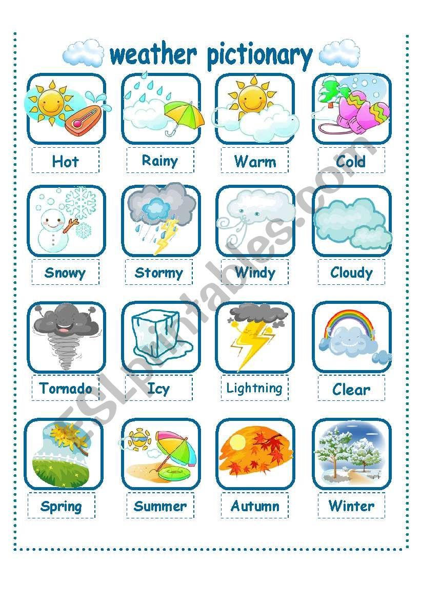 weather seasons pictionary esl worksheet by la luna. Black Bedroom Furniture Sets. Home Design Ideas