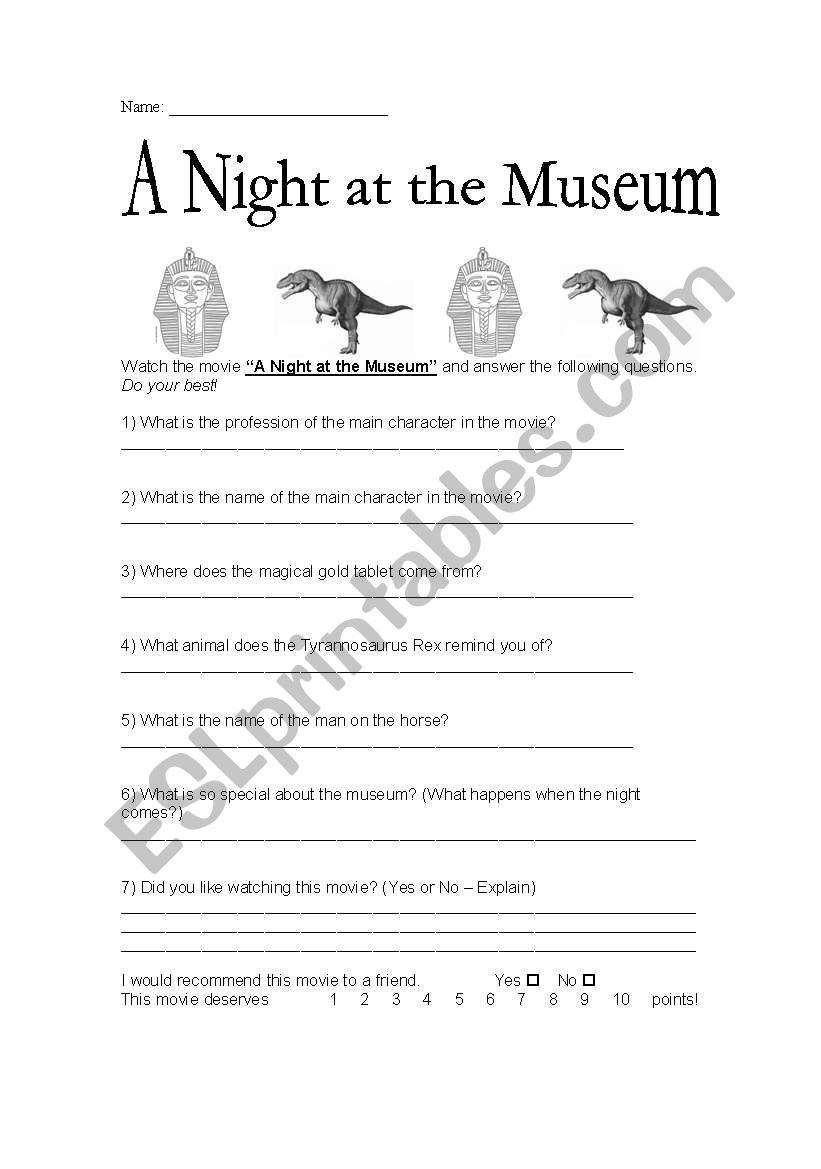 A Night at the Museum - Movie Reading Comprehension