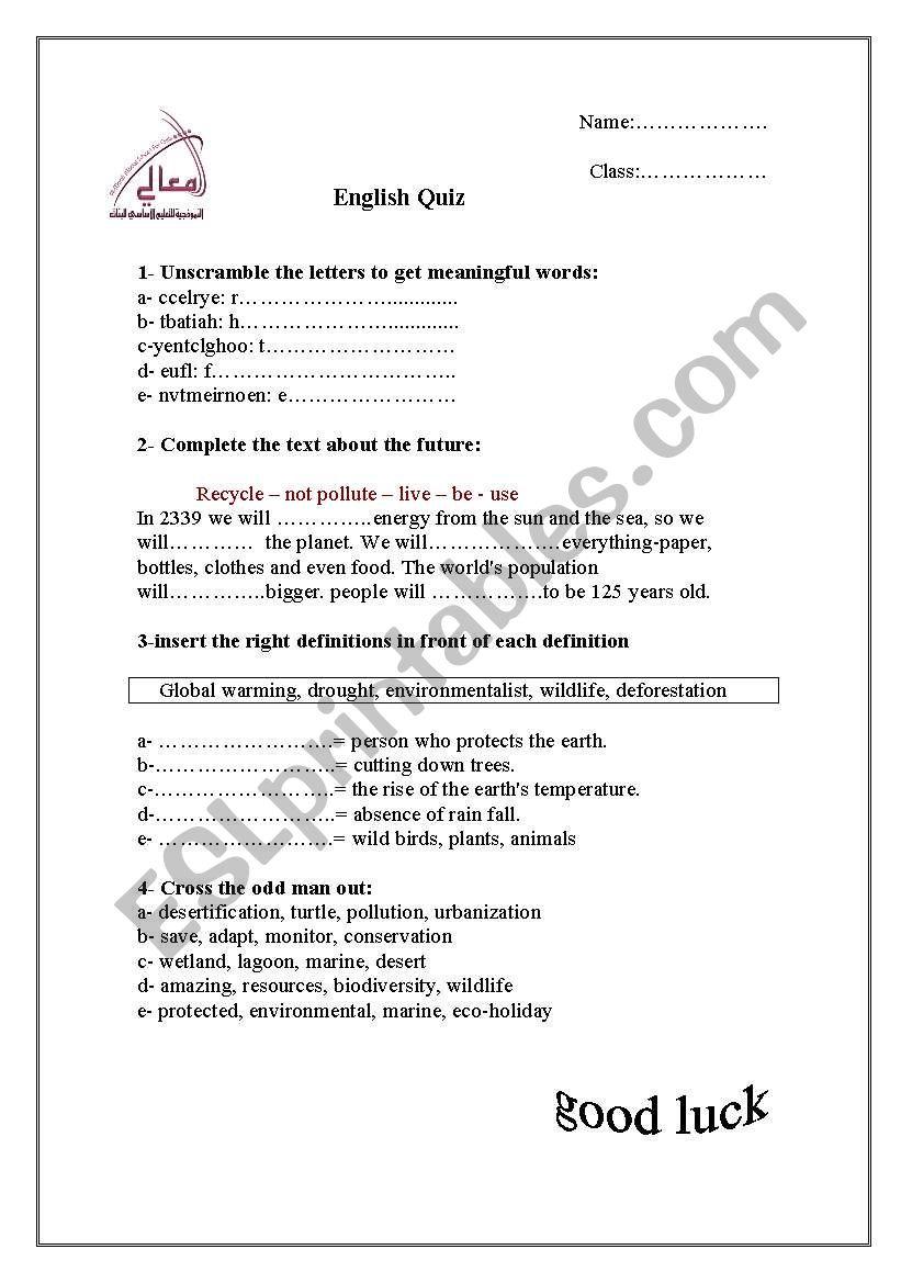 About Environment - ESL worksheet by besmah