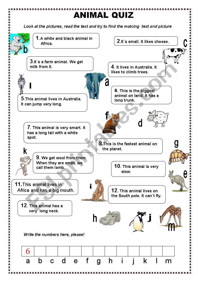 animal quiz esl worksheet by sivert 50. Black Bedroom Furniture Sets. Home Design Ideas
