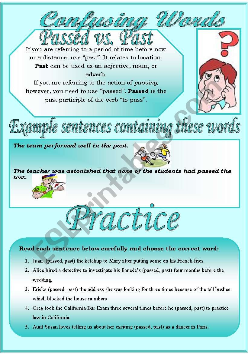 Confusing Words (8)...passed vs. past...There are many grammatical ...