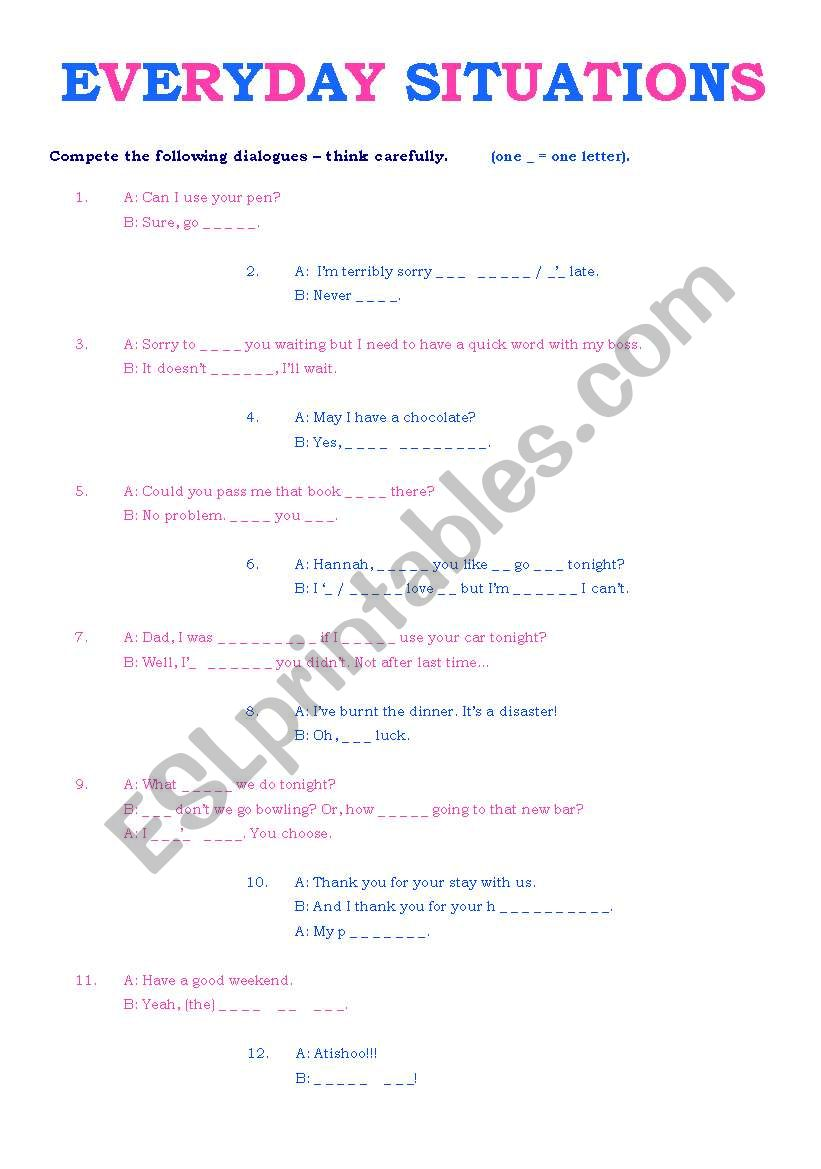 Everyday situations worksheet