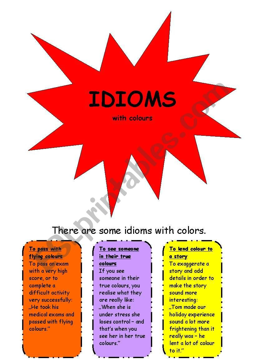 Idioms with colors worksheet