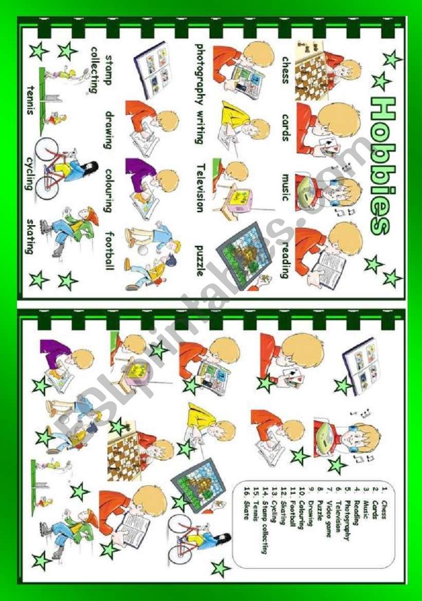 Hobbies worksheet