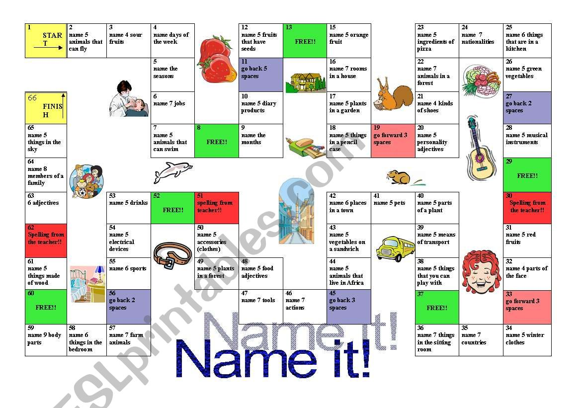Name it! board game worksheet