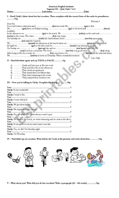 Last Vacations - test worksheet