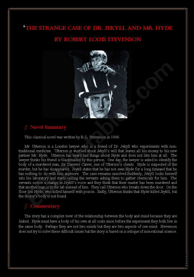 The Strange Case of Dr. Jekyll and Mr. Hyde Summary