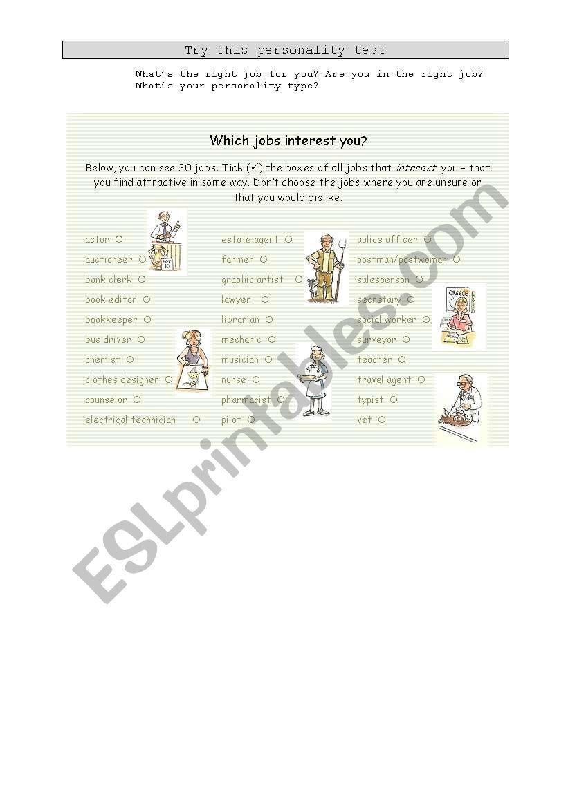 Personality Test - Jobs worksheet