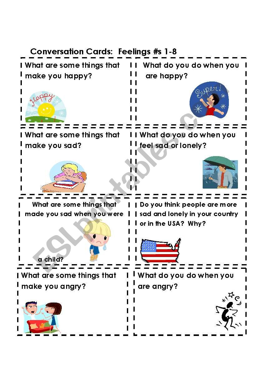 Conversation Cards:  Feelings #s 1-8  (Part 1 of 3)