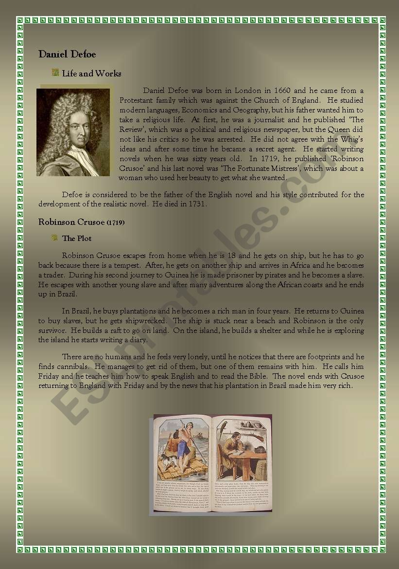 Daniel Defoe: a short summary of Robinson Crusoe for the readers diary