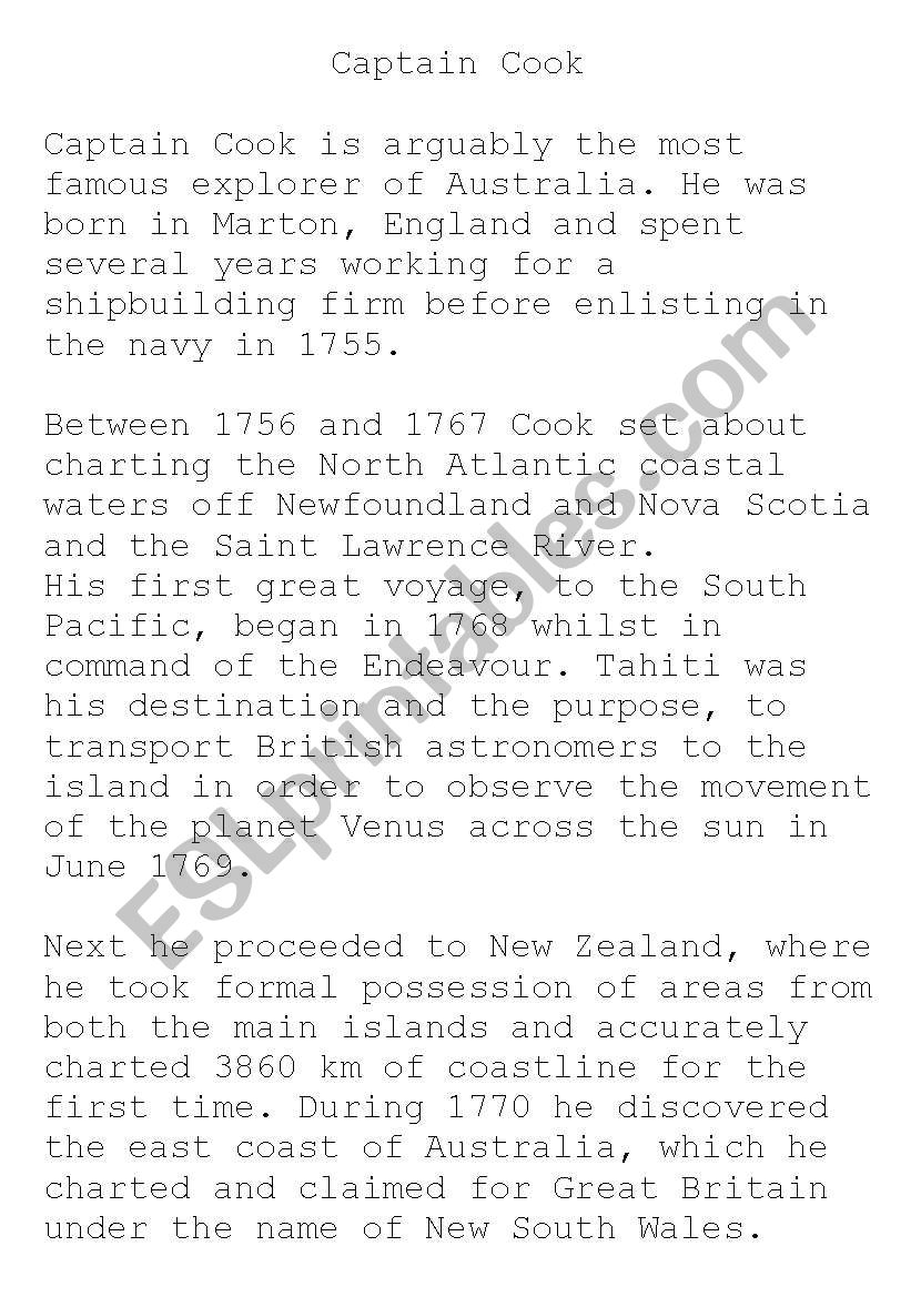 English Worksheets Captain Cook