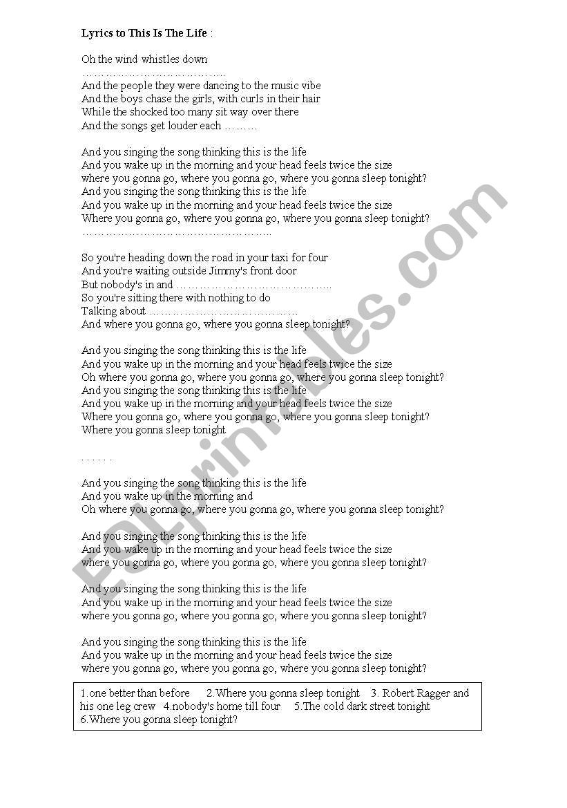 english worksheets  amy macdonald lyrics  this is the life