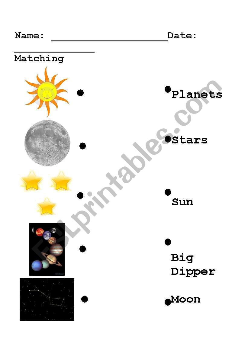 solar system matching easy esl worksheet by gsiegel2. Black Bedroom Furniture Sets. Home Design Ideas