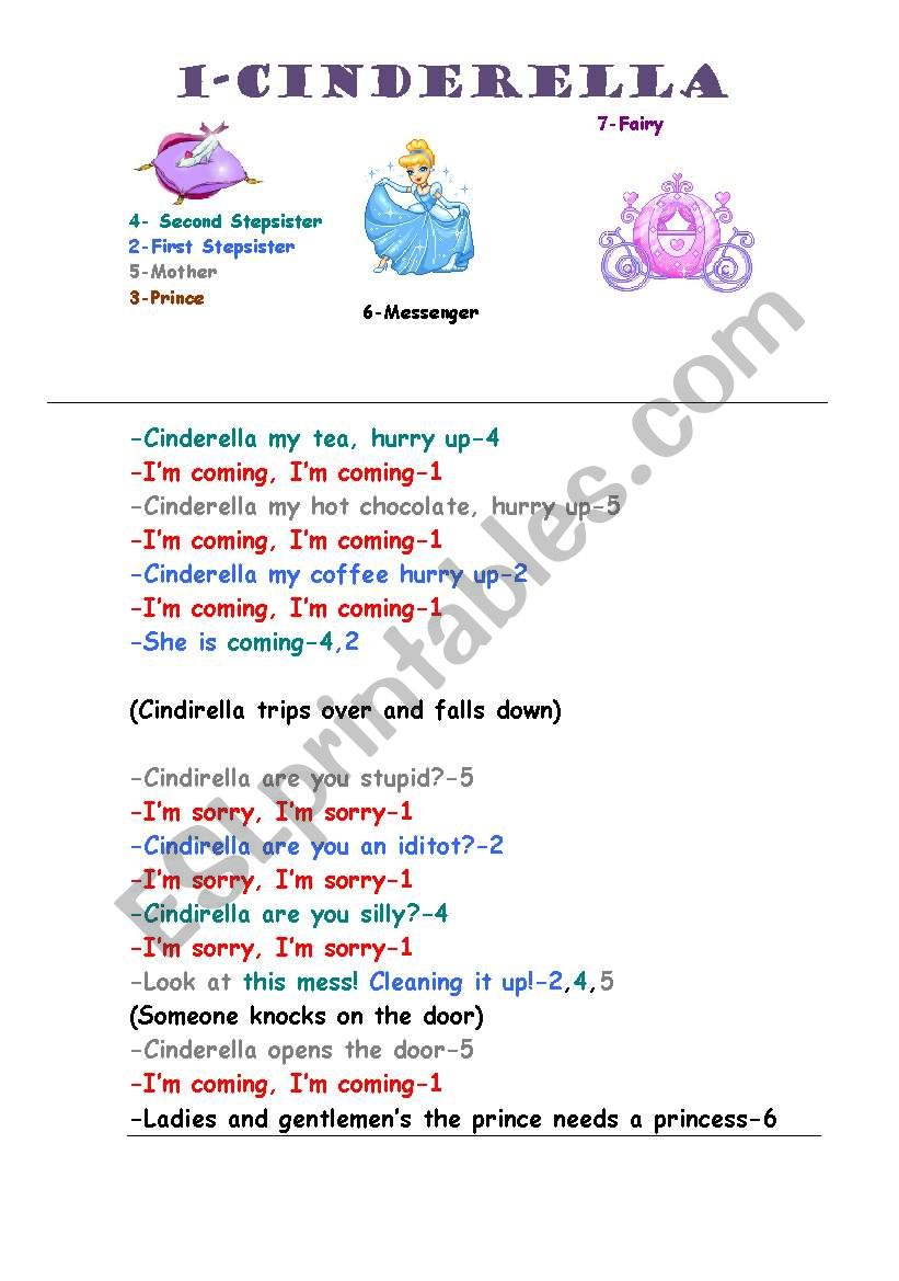 image about Cinderella Story Printable identify Cinderella Drama Script - ESL worksheet by means of missmallo