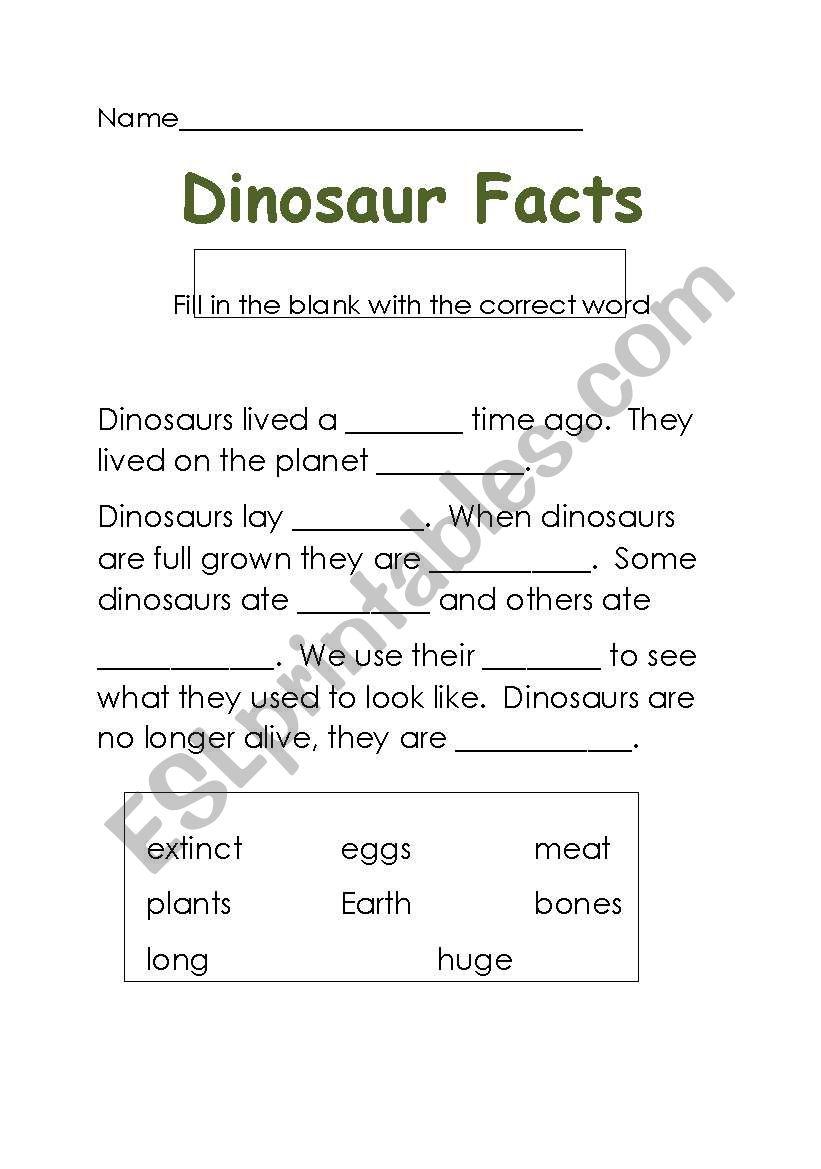 dino facts worksheet