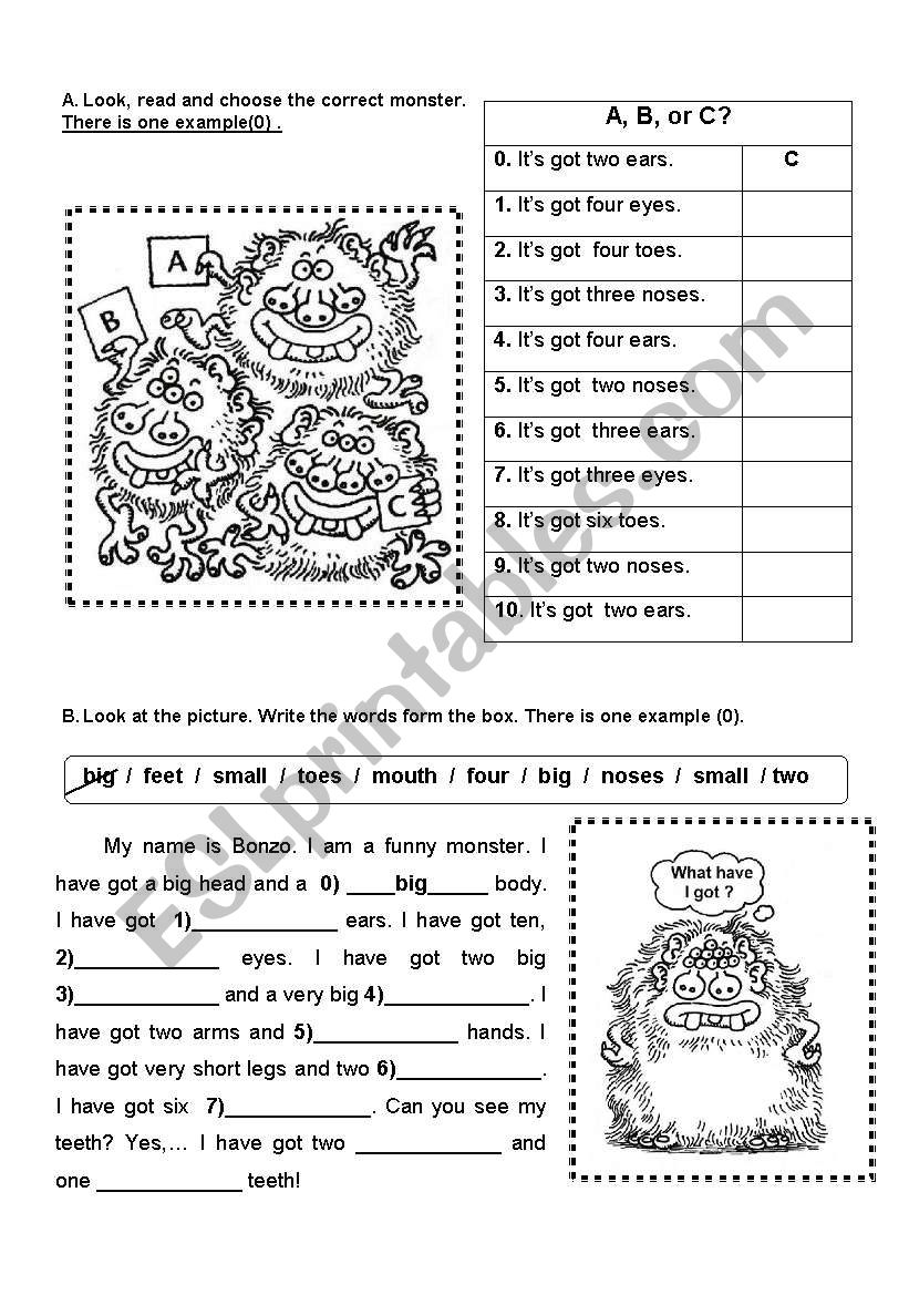 BODY PARTS - HAVE / HAS GOT worksheet