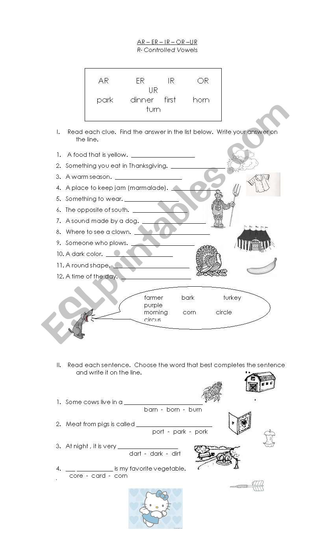 AR - ER - IR -OR -UR worksheet