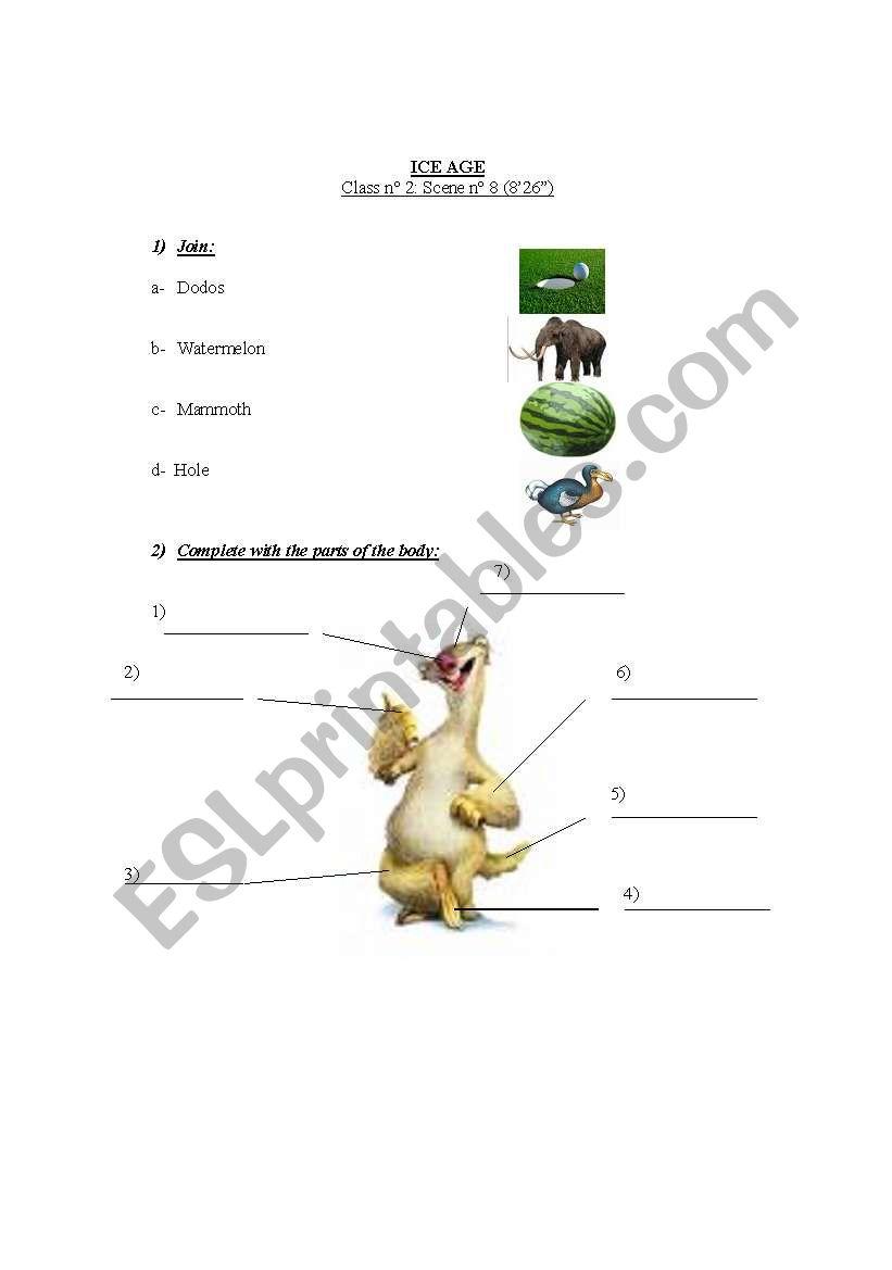 ICE AGE 1 (scene 8) worksheet