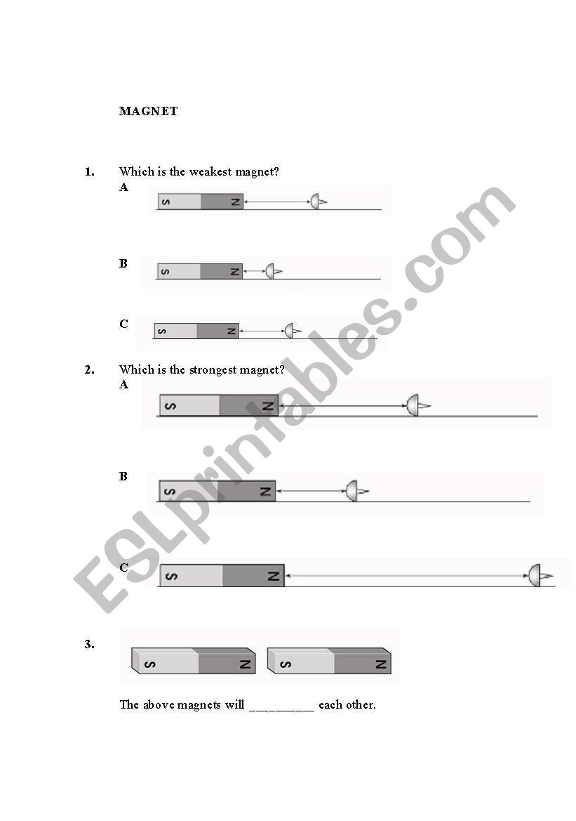 Magnet ( Activity 3 ) worksheet
