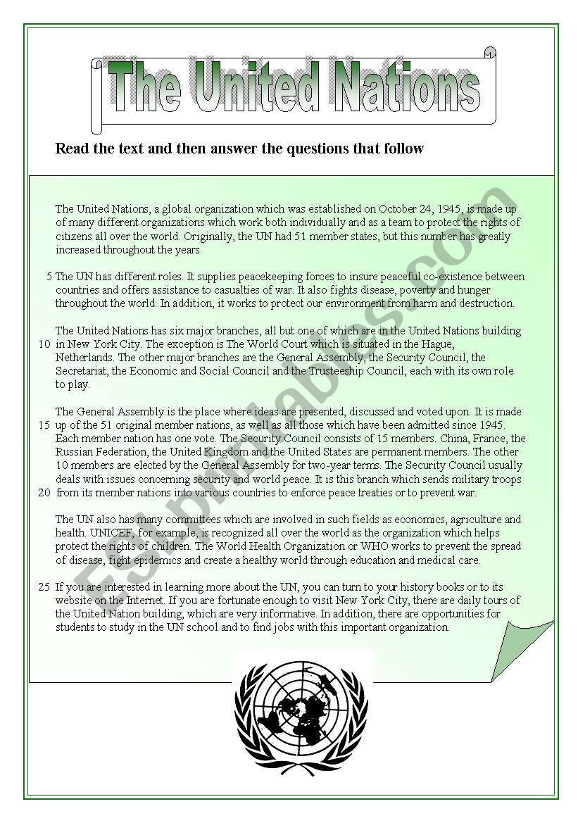 The United Nations - reading comprehension