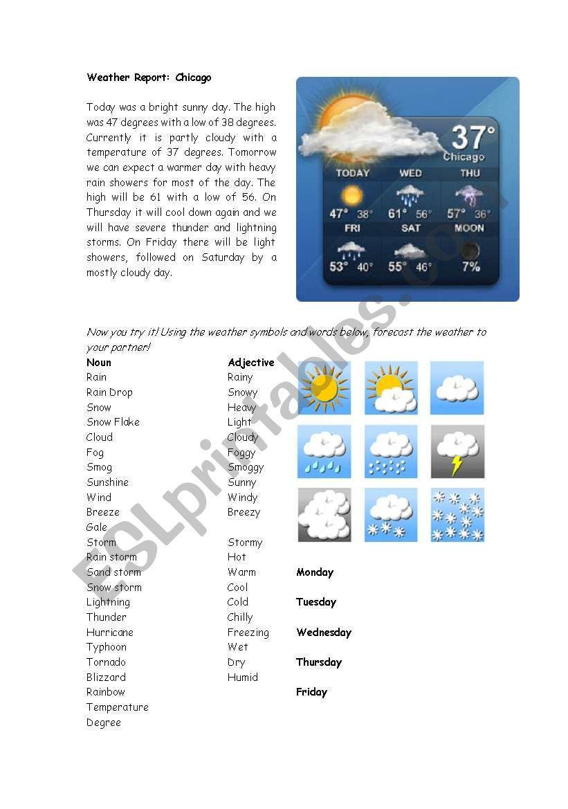 Weather Report worksheet