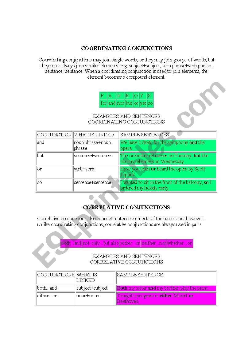 Types of Conjunctions worksheet