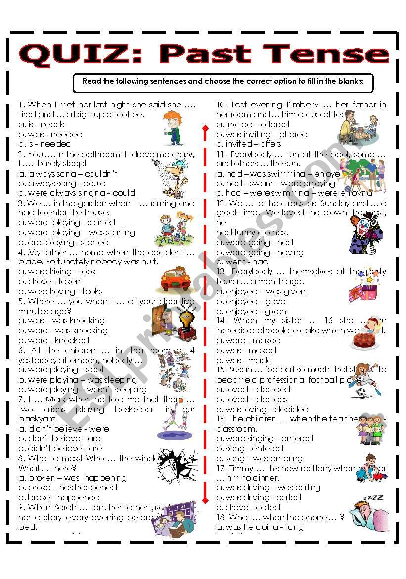 QUIZ - PAST TENSE worksheet