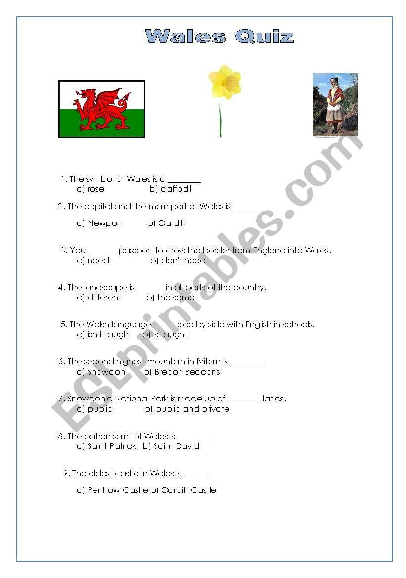 Wales Quiz worksheet