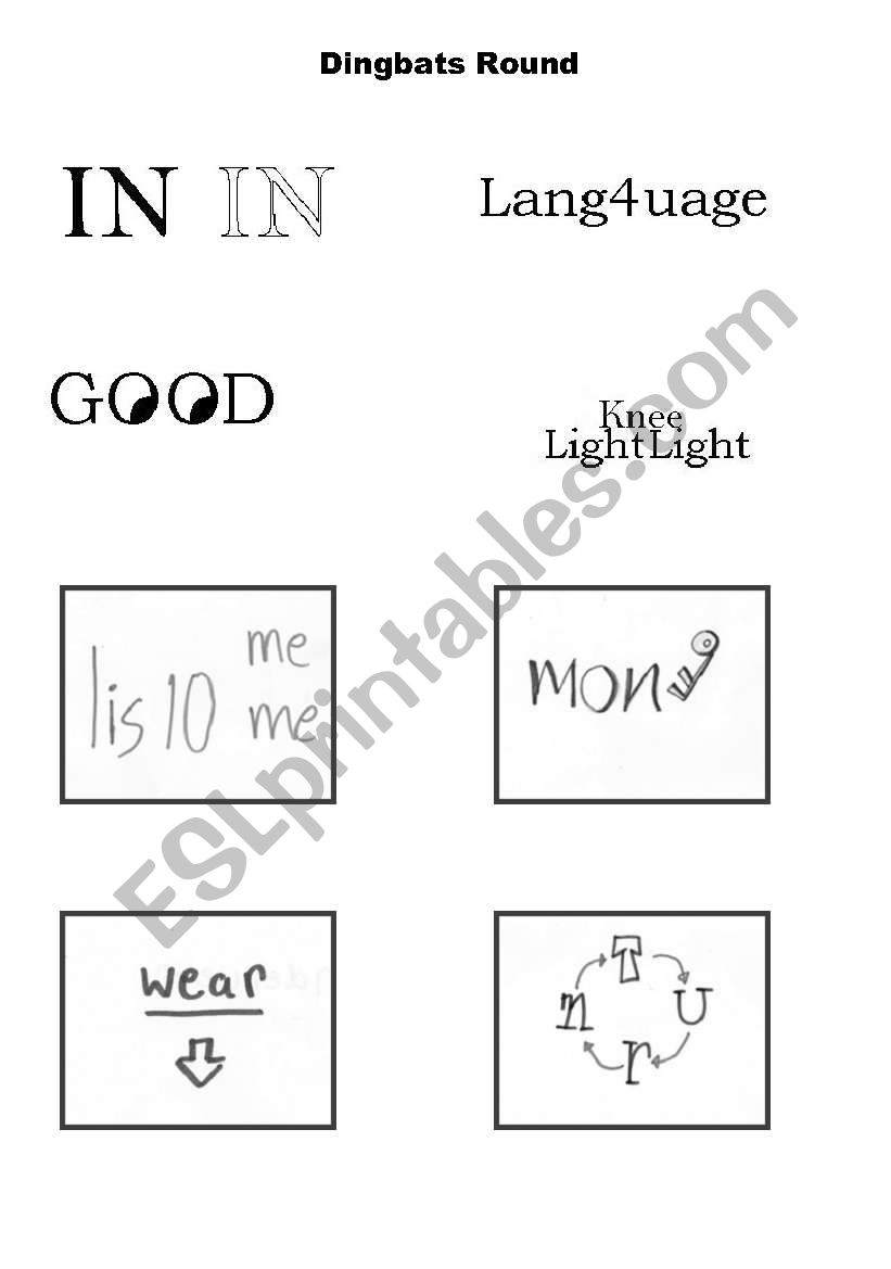 English worksheets: dingbats