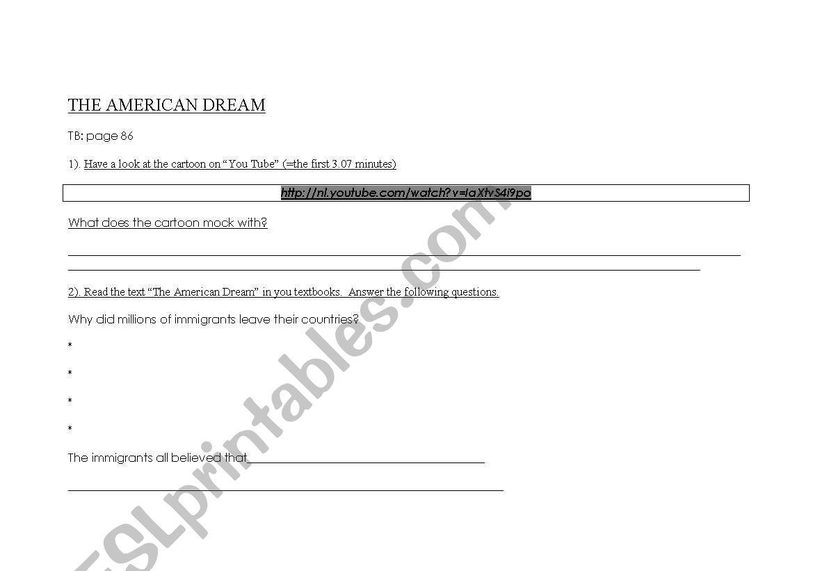 the big american dram worksheet