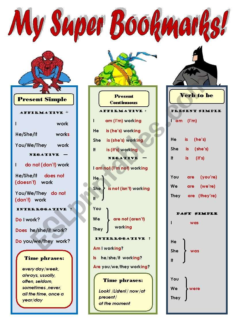 MY SUPER BOOKMARKS PART 3! _ FUNNY GRAMMAR AND VOCABULARY BOOKMARKS FOR KIDS (2 pages: Present Simple, Presenr Cont., Ordinal numbers 1-1000, present and past forms of to be, common irregular verbs) EDITABLE!!!