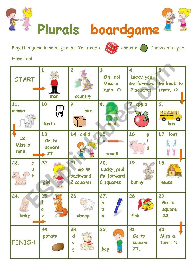 Plurals boardgame worksheet