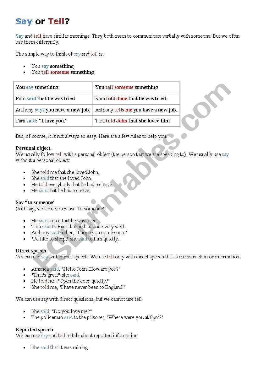 say or tell? worksheet