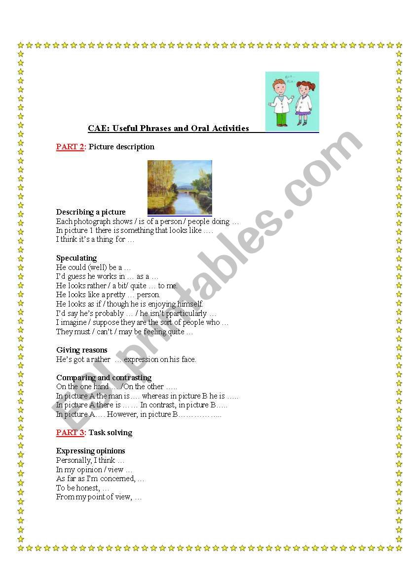 Speaking practice for the C.A.E. exam