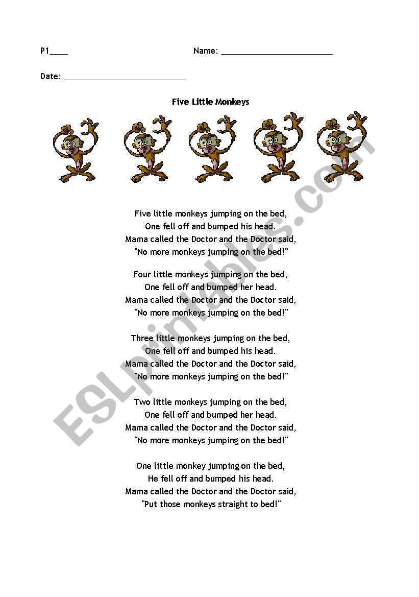 Phonics Song- Five Little Monkeys