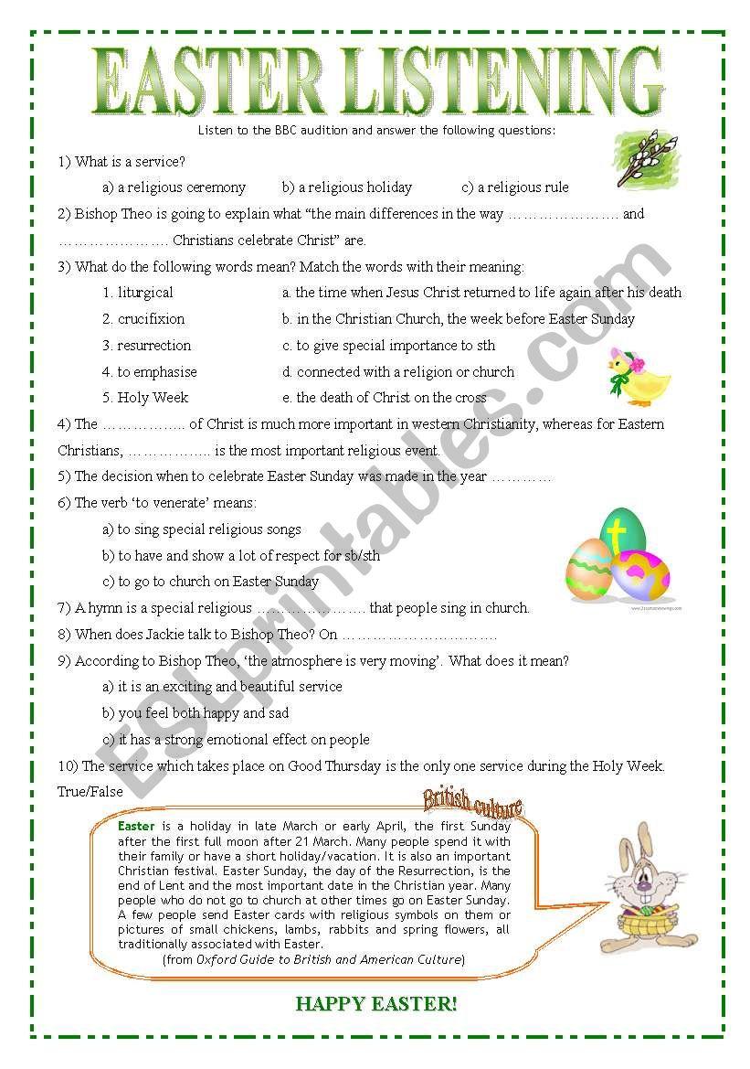 Easter Listening worksheet