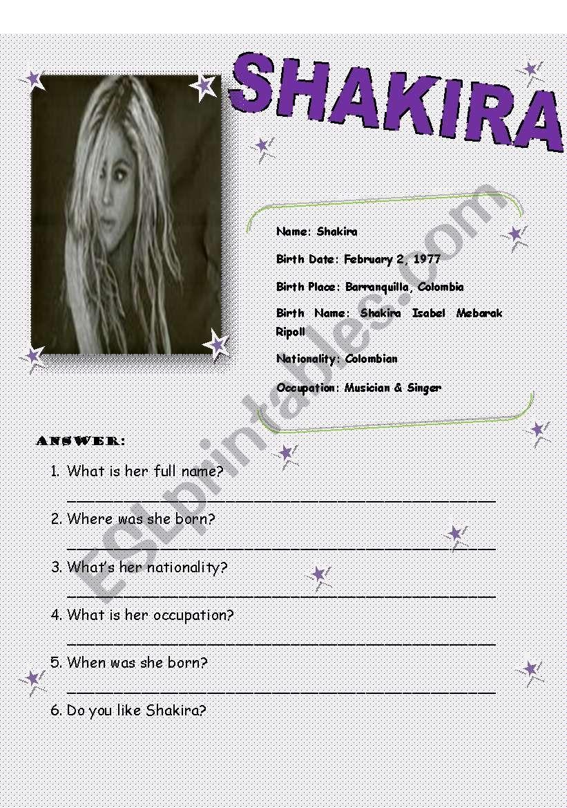 SHAKIRA (identifying personale informaton)