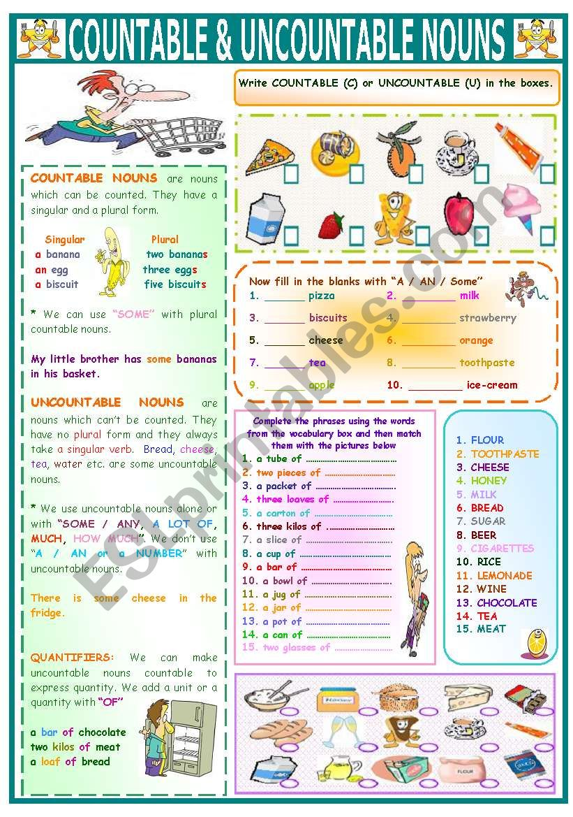 COUNTABLE&UNCOUNTABLE NOUNS worksheet