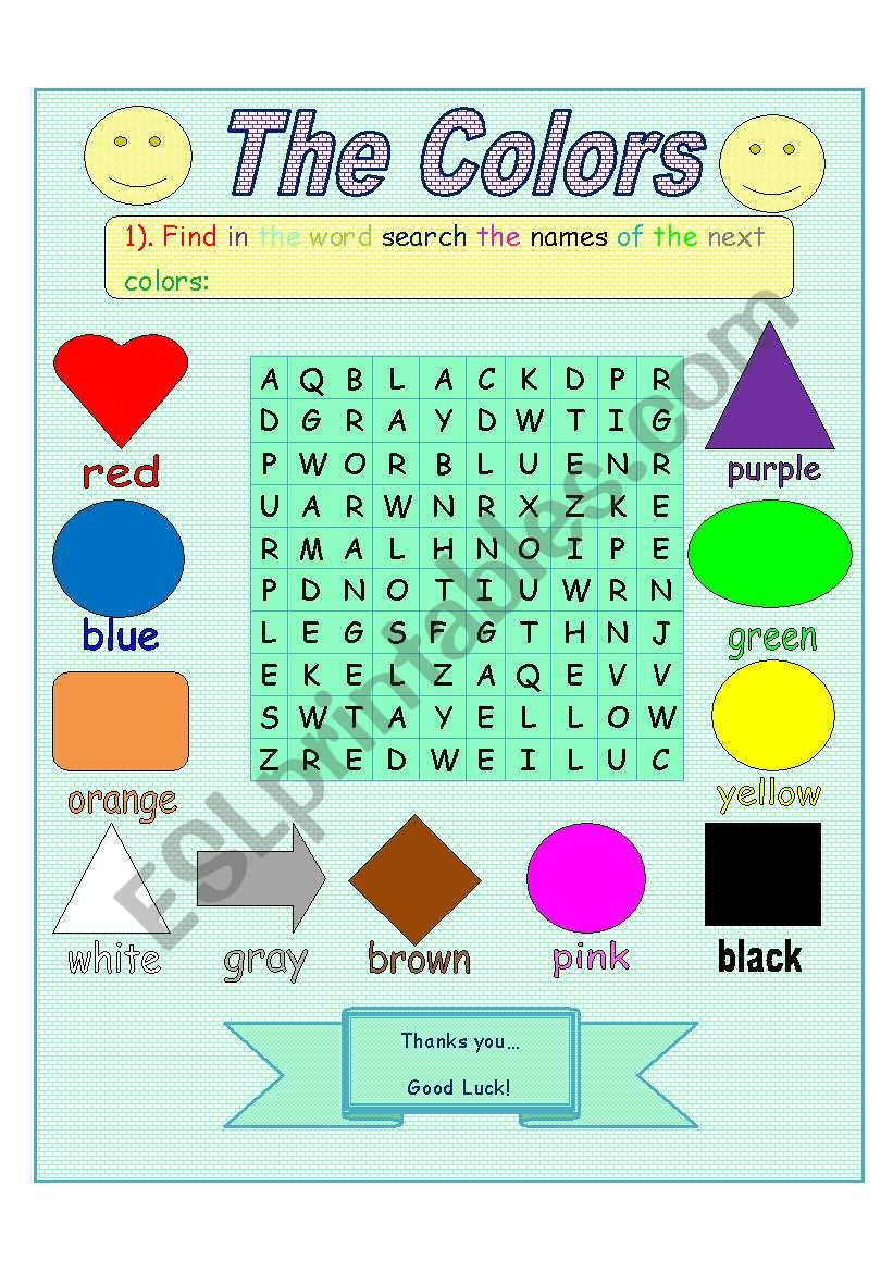 the colors word search esl worksheet by jhon ch. Black Bedroom Furniture Sets. Home Design Ideas