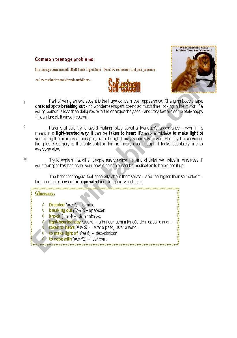 Self Esteem Esl Worksheet By Iris77