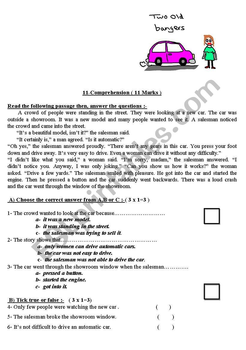 2 Reading Prehension Worksheets For Intermediate Level