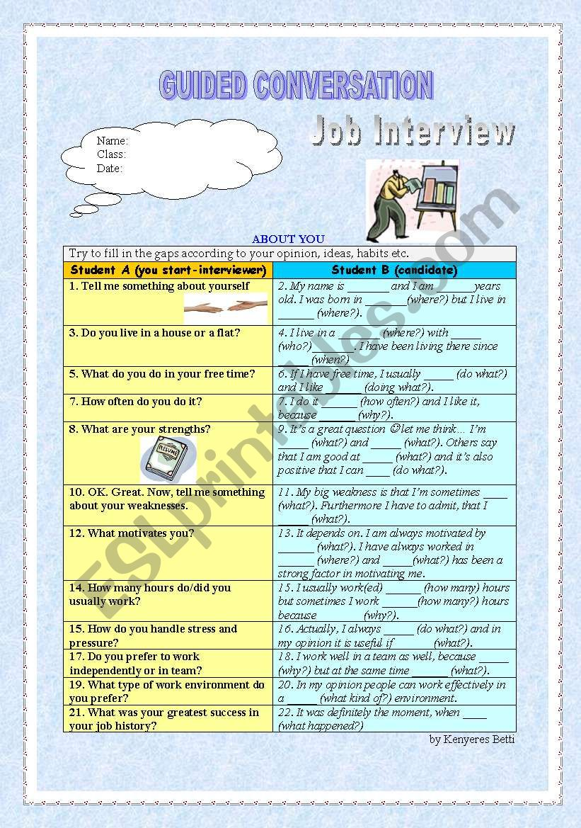 Guided conversation - Job Interview - ESL worksheet by ...