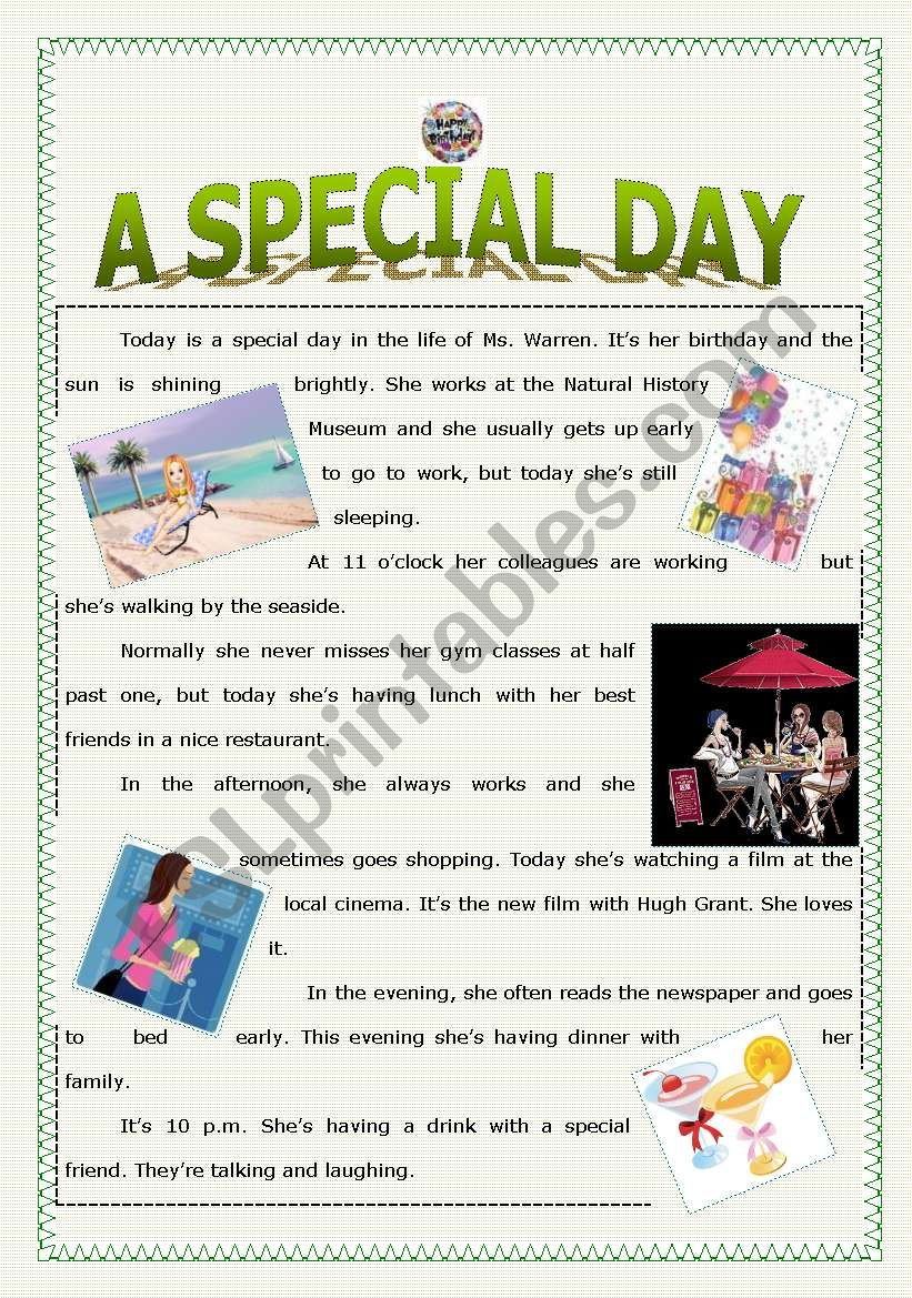 A Special Day worksheet