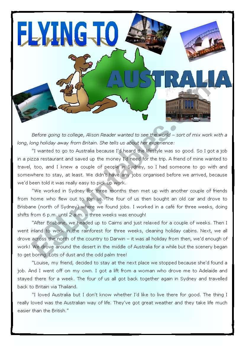 Flying to Australia worksheet