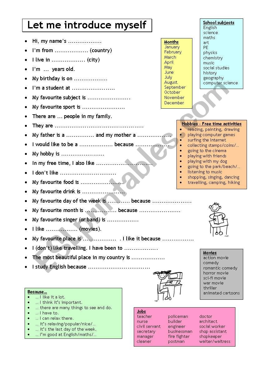 Let me introduce myself - Getting to know you - Speaking prompts with vocabulary bank