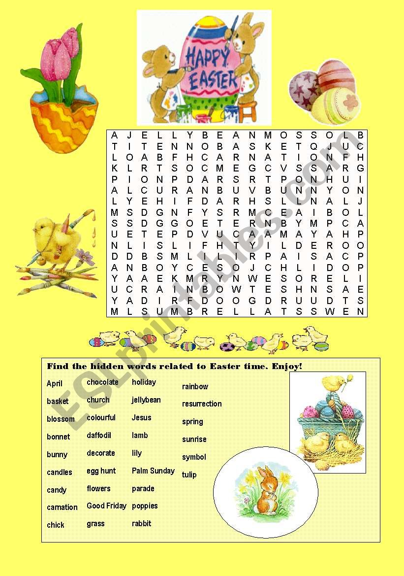 Easter Wordsearch worksheet