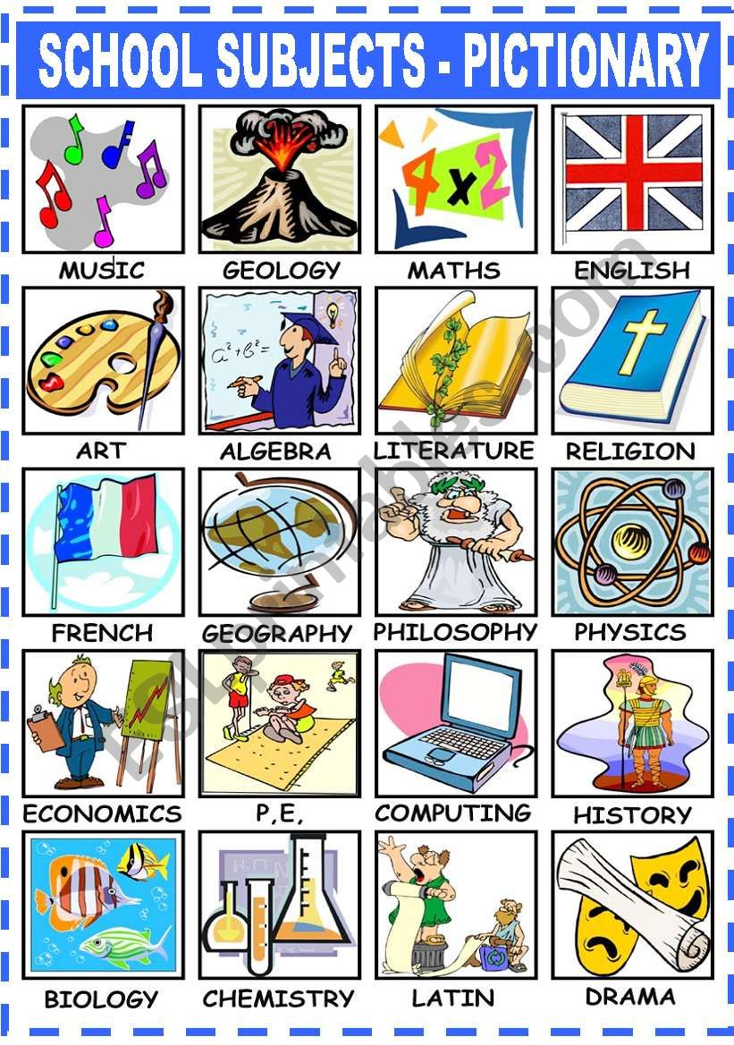 SCHOOL SUBJECTS - PICTIONARY worksheet