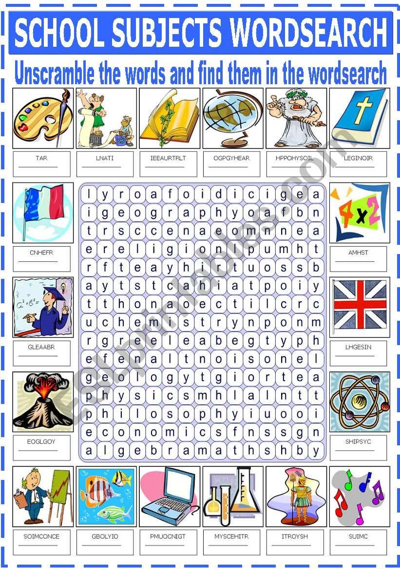 SCHOOL SUBJECTS - WORDSEARCH worksheet