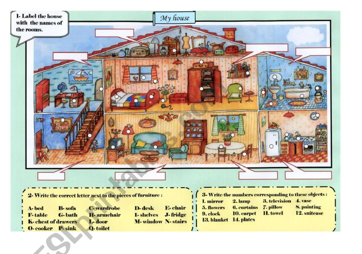 A house - Vocabulary worksheet