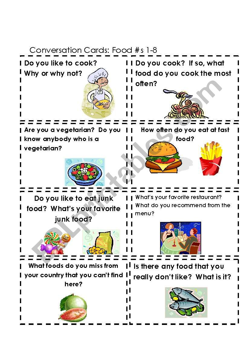 Conversation Cards Food #s 1-8